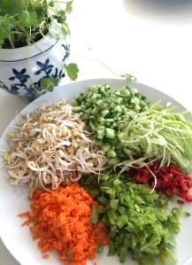 Finhackade grönsaker